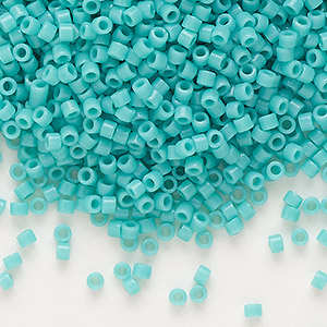 seed bead, delica, glass, opaque mint green, (db729), #11 round. sold per 7.5-gram pkg.