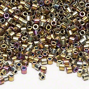 seed bead, delica, glass, opaque nickel-finished rainbow raspberry, (dbl29), #8 round. sold per 7.5-gram pkg.