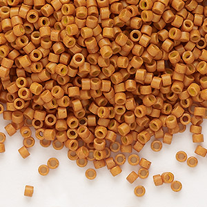 seed bead, delica, glass, opaque pumpkin, (db653), #11 round. sold per 250-gram pkg.