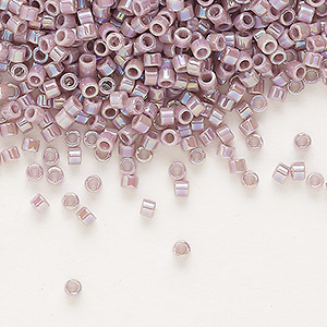 seed bead, delica, glass, opaque rainbow lavender cream, (db158), #11 round. sold per pkg of 250 grams.