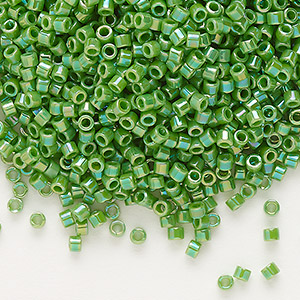 seed bead, delica, glass, opaque rainbow lime green, (db163), #11 round. sold per 7.5-gram pkg.