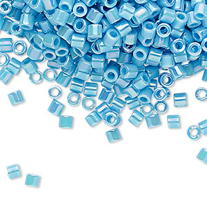 seed bead, delica, glass, opaque rainbow turquoise blue, (dbl0164), #8 round. sold per 7.5-gram pkg.
