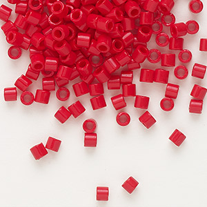seed bead, delica, glass, opaque red, (dbl723), #8 round, 1.5mm hole. sold per 7.5-gram pkg.