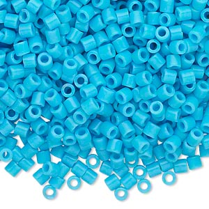 seed bead, delica, glass, opaque turquoise blue, (dbl725), #8 round, 1.5mm hole. sold per 7.5-gram pkg.
