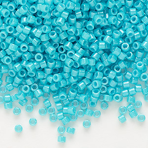 seed bead, delica, glass, opaque turquoise green, (db658), #11 round. sold per 50-gram pkg.