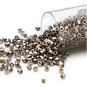 seed bead, delica, glass, opaque white gold luster bronze, (db254cut), #11 cut. sold per 50-gram pkg.