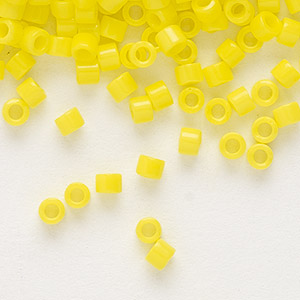 seed bead, delica, glass, opaque yellow, (db721), #11 round. sold per 7.5-gram pkg.