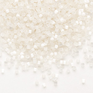 seed bead, delica, glass, silk luster ivory, (db673), #11 round. sold per 7.5-gram pkg.