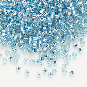 seed bead, delica, glass, silver-lined aqua blue, (db44), #11 round. sold per 7.5-gram pkg.