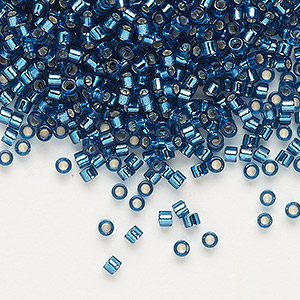 seed bead, delica, glass, silver-lined blue zircon, (db608), #11 round. sold per 250-gram pkg.