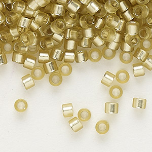 seed bead, delica, glass, silver-lined frosted jonquil, (db686), #11 round. sold per 7.5-gram pkg.