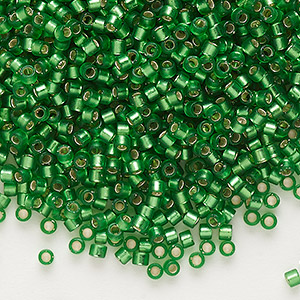 seed bead, delica, glass, silver-lined frosted medium green, (db688), #11 round. sold per 250-gram pkg.