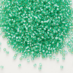 seed bead, delica, glass, silver-lined frosted mint green, (db691), #11 round. sold per 7.5-gram pkg.