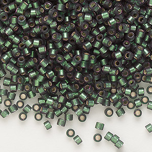seed bead, delica, glass, silver-lined frosted olive, (db690), #11 round. sold per 50-gram pkg.