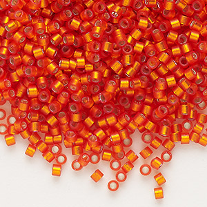 seed bead, delica, glass, silver-lined frosted orange, (db682), #11 round. sold per 7.5-gram pkg.