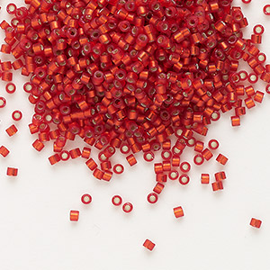 seed bead, delica, glass, silver-lined frosted ruby red, (db683), #11 round. sold per 50-gram pkg.