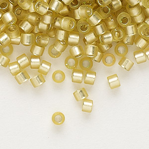 seed bead, delica, glass, silver-lined frosted yellow-green, (db687), #11 round. sold per 50-gram pkg.