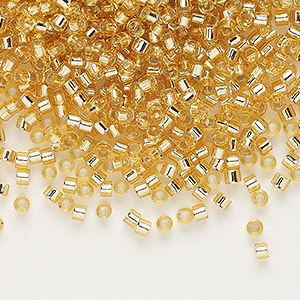 seed bead, delica, glass, silver-lined gold, (db42), #11 round. sold per pkg of 250 grams.