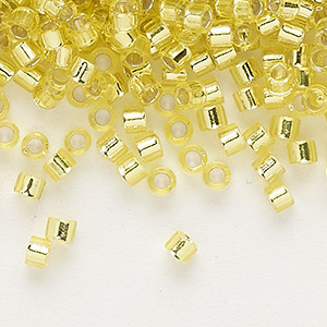 seed bead, delica, glass, silver-lined lemon, (db145), #11 round. sold per 7.5-gram pkg.
