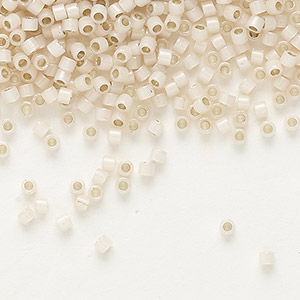 seed bead, delica, glass, silver-lined opal blush, (db1452), #11 round. sold per pkg of 250 grams.
