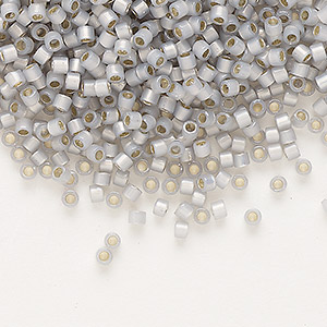 seed bead, delica, glass, silver-lined opal periwinkle, (db1455), #11 round. sold per 50-gram pkg.
