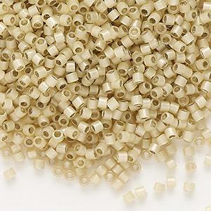 seed bead, delica, glass, silver-lined opal tan, (db1458), #11 round. sold per 7.5-gram pkg.