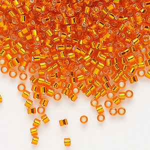 seed bead, delica, glass, silver-lined orange, (db45), #11 round. sold per 50-gram pkg.