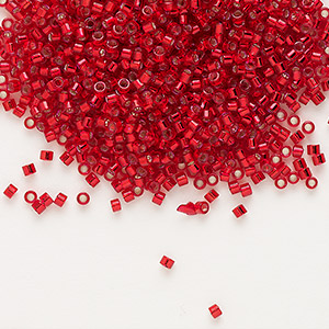 seed bead, delica, glass, silver-lined red, (db602), #11 round. sold per 7.5-gram pkg.