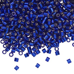 seed bead, delica, glass, silver-lined transparent cobalt blue, (dbl47), #8 round, 1.5mm hole. sold per 50-gram pkg.