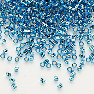 seed bead, delica, glass, silver-lined turquoise blue, (db149), #11 round. sold per 7.5-gram pkg.