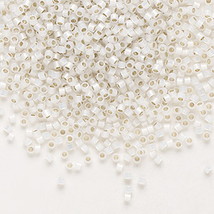 seed bead, delica, glass, silver-lined white opal, (db221), #11 round. sold per 50-gram pkg.