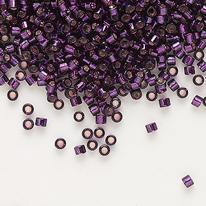 seed bead, delica, glass, silver-lined wine, (db611), #11 round. sold per 7.5-gram pkg.