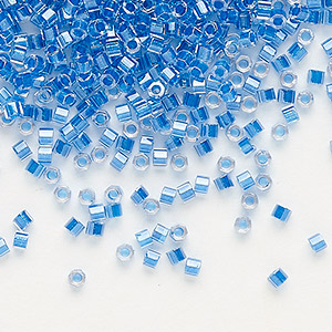 seed bead, delica, glass, transparent color-lined electric blue, (dbc-0920), #11 cut. sold per 250-gram pkg.