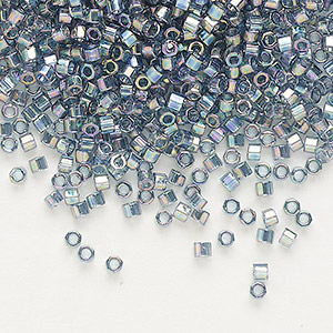 seed bead, delica, glass, transparent glazed luster rainbow light grey, (dbc-0111), #11 cut. sold per 250-gram pkg.