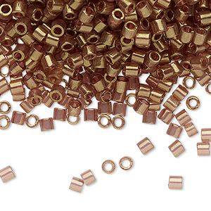 seed bead, delica, glass, transparent light topaz gold luster dark golden rose, (dbl0115), #8 round. sold per 7.5-gram pkg.