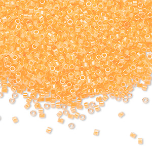 seed bead, delica, glass, transparent luminous color-lined neon sun yellow, (db2032), #11 round. sold per 50-gram pkg.