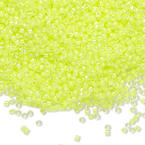 seed bead, delica, glass, transparent luminous neon yellow, (db2031), #11 round. sold per 250-gram pkg.