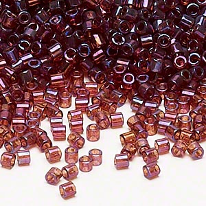 seed bead, delica, glass, transparent luster rainbow raspberry, (dbl104), #8 round. sold per 250-gram pkg.