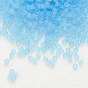 seed bead, delica, glass, transparent matte light blue, (db747), #11 round. sold per 7.5-gram pkg.