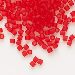 seed bead, delica, glass, transparent matte light red, (dbl0745), #8 round. sold per 50-gram pkg.