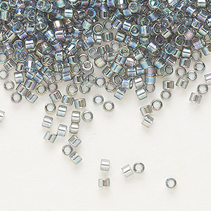seed bead, delica, glass, transparent rainbow silver grey, (db179), #11 round. sold per 50-gram pkg.