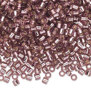 seed bead, delica, glass, transparent silver-lined smoky amethyst purple, (dbl146), #8 round, 1.5mm hole. sold per 50-gram pkg.