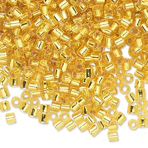 seed bead, delica, glass, transparent silver-lined yellow, (dbl145), #8 round, 1.5mm hole. sold per 7.5-gram pkg.