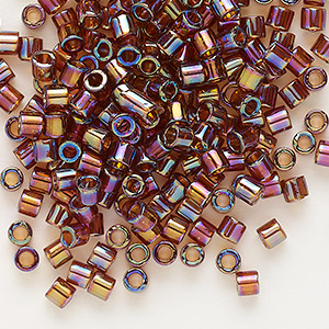 seed bead, delica, glass, transparent topaz brown rainbow, (dbl170), #8 round, 1.5mm hole. sold per 7.5-gram pkg.
