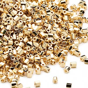 seed bead, dyna-mites™, glass, opaque 24kt gold-plated, #11 hex 2-cut. sold per 1/2 kilogram pkg.