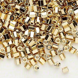 seed bead, dyna-mites™, glass, opaque 24kt gold-plated, #6 hex 2-cut. sold per 1/2 kilogram pkg.