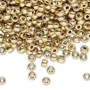 seed bead, dyna-mites™, glass, opaque 24kt gold-plated, #6 round. sold per 40-gram pkg.