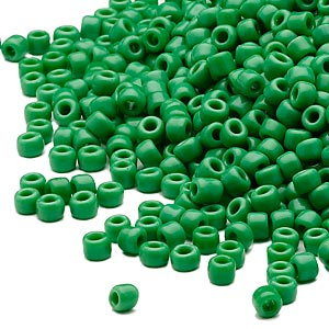 seed bead, dyna-mites™, glass, opaque green, #8 round. sold per 40-gram pkg.