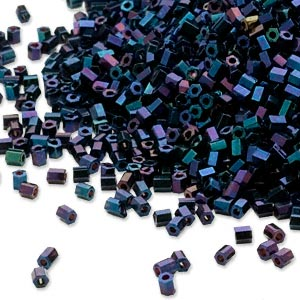 seed bead, dyna-mites™, glass, opaque iris blue, #11 hex 2-cut. sold per 40-gram pkg.