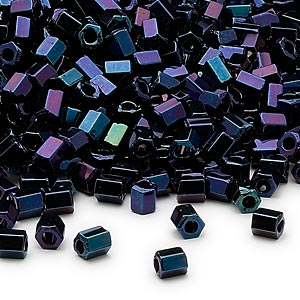 seed bead, dyna-mites™, glass, opaque iris blue, #6 hex 2-cut. sold per 40-gram pkg.